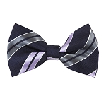BK-39|Lavender and Silver On Navy Blue Dual Stripe Men's Woven Bow Tie