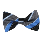 BK-53| Peacock Blue and Black Wide Repp-Stripe Men's Woven Bow Tie
