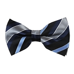 BK-56 | Silver, Navy Blue, and Steel Blue Multi-Stripe Men's Woven Bow Tie