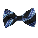 BK-57| Royal Blue And Steel Blue on Black Dual Stripe Men's WovenBow Tie