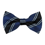 BK-59 | Black and Royal Blue University Repp-Striped Men's Woven Bow Tie