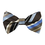 BK-62| Light Blue, Steel Blue, And Black Multi-Stripe Men's Woven Bow Tie