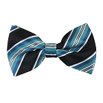 BK-63| Turquoise Blue and Silver On Black Repp-Stripe Men's Woven Bow Tie