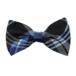 BK-68 | Royal Blue And Steel Blue on Black Striped Plaid Men's Woven Bow Tie