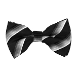 BK-71 | Silver, Charcoal Gray, and Black Fade Striped Men's Woven Bow Tie