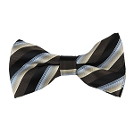 BK-84|Cream to Light Blue and Black on Brown Fade Stripe Men's Woven Bow Tie