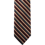 K-34| Burgundy, Charcoal Gray and Honey Gold Stripe Woven Necktie