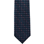 K-01| Red and Navy Blue Geometric Woven Necktie