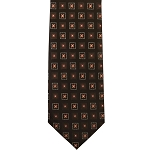 K-12| Lite Coral and Dark Brown Floral Woven Necktie