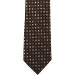 K-14| Light Blue, Honey Gold, Brown and Black Geometric Woven Necktie