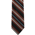 K-16| Orange, Light Blue, Brown, and Black Striped Woven Necktie