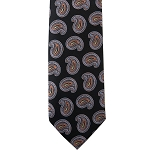 K-17| Orange, Steel Blue and Black Paisley Woven Necktie