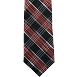 K-18| Red, Lite Coral and Black Multi Striped Plaid Woven Necktie