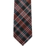 K-19| Orange, Lite Coral and Black Multi Striped Plaid Woven Necktie