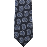 K-25| Steel Blue, White and Navy Blue Paisley Woven Necktie