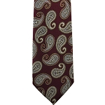 K-27| Copper, White and Burgundy Floral Paisley Woven Necktie