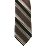 K-28| Brown, Beige, and Honey Gold Striped Woven Necktie
