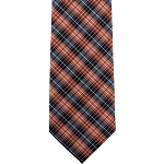 K-30 | Orange and Navy Blue Tartan Plaid Woven Necktie