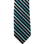 K-31 | Oasis, Light Blue and Silver Multi Striped Woven Necktie