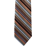 K-33| Steel Blue, Lite Coral, and Black Striped Woven Necktie
