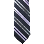 K-39| Lavender,  Silver and Navy Blue Dual Stripe Woven Necktie