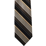 K-41| Black, Brown, Honey Gold, and Beige Wide Striped Woven Necktie