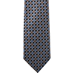 K-47| Orange and Steel Blue Diamond Grid Woven Necktie