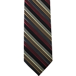 K-48 | Burgundy, Black, and Charcoal Gray Multi-Color Stripe Woven Necktie