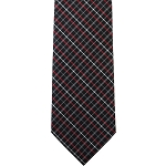 K-50 | Red, White and Black Diagonal Plaid Woven Necktie