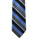K-53| Peacock Blue and Black Wide Striped Woven Necktie