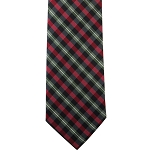 K-55 | Red and Black Diagonal Gingham Plaid Woven Necktie