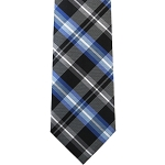 K-61| Royal Blue, Light Blue and Black Classic Flannel Plaid Woven Necktie