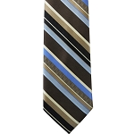 K-62| Light Blue, Steel Blue, And Black Multi-Stripe Woven Necktie