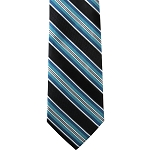 K-63| Turquoise, Silver and Black Striped Woven Necktie