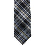 K-65| Steel Blue, Champagne, And Black Diagonal Tartan Plaid Woven Necktie