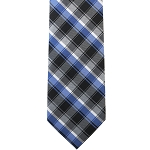 K-66| Silver, Charcoal Gray, Royal Blue and Black Striped Plaid Woven Necktie