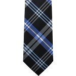 K-68| Royal Blue, Steel Blue and Black Striped Plaid Woven Necktie