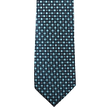 K-72| Turquoise and Black Dotted Grid Woven Necktie