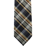 K-76| Honey Gold, Cinnamon, and Navy Blue Classic Plaid Woven Necktie