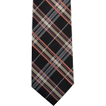 K-77| Lite Coral, Honey Gold, and Black Tartan Plaid Woven Necktie