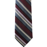 K-81| Honey Gold, Charcoal Gray and Maroon Pattern Stripe Woven Necktie