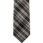 K-82| Honey Gold, Steel Blue, Cinnamon and Brown Vintage Tartan Woven Necktie
