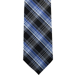 K-83| Royal Blue, Light Blue and Black Multi-Tartan Plaid Woven Necktie