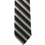 K-84| Cream, Light Blue, Black and Brown Gradient Striped Woven Necktie