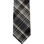 K-85| Brown, Beige and Black Multi-Shade Tartan Plaid Woven Necktie