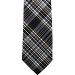 K-86| Brown, Silver and Navy Blue Multi-Shade Tartan Plaid Woven Necktie