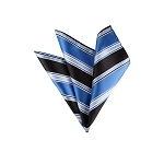 LH-01 | Steel Blue and Black Multi Striped Woven Handkerchief