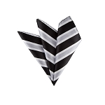 LH-05 | Black, Silver and White Wide Striped Woven Handkerchief