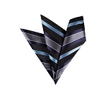 LH-06 | Navy, Steel Blue, Black and Charcoal Multi Striped Woven Handkerchief