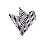 LH-07 | Black, Silver and White Narrow Striped Woven Handkerchief